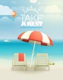 Plaża z krzesłami Zdjęcia Royalty Free