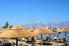Plaża z marina tyły, Agios Nikolaos Fotografia Royalty Free