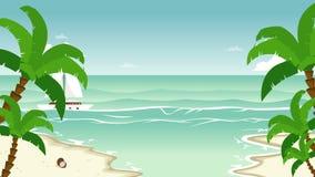 Plaża z palma animującym krajobrazem ilustracji