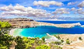 Plaże Grecja, Lindos w Rhodes wyspie - obrazy royalty free