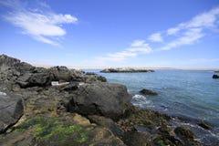 Plaże i schronienie blisko Bahia Inglesia, kaldera, Chile obraz royalty free