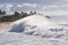 plażowa duży Hawaii Oahu zmierzchu fala Fotografia Royalty Free