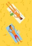 plażowa lying on the beach mężczyzna kobieta Obraz Stock