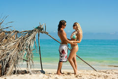 plażowa para obrazy royalty free