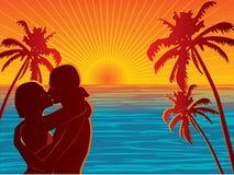 plażowa para royalty ilustracja
