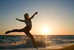 plażowa piękna bieg morza kobieta Fotografia Stock