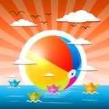 Plażowa piłka w wodzie - ocean lub jezioro ilustracja wektor