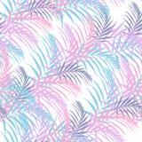 Plażowa rozochocona bezszwowa deseniowa tapeta tropikalnego koloru palmowi liście drzewka palmowe na białym tle ilustracji