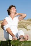 plażowa starsza kobieta obraz stock
