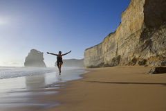 plażowa szczęśliwa kobieta Obraz Royalty Free