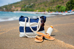 Plażowa torba, trzepnięcie klapy, sunscreen i okulary przeciwsłoneczni, Fotografia Stock