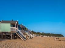 Plażowe budy przy wschodem słońca Obrazy Royalty Free