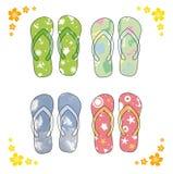 plażowe kolorowe różne zawory flipa powiesili pierwszej sandały Kolorowe klapy nad białym tłem ilustracji