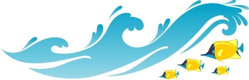 Plażowe Seawater fala, ryba i royalty ilustracja