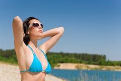 plażowego bikini błękitny stanika lato kobieta Zdjęcie Stock