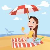 plażowego bizneswomanu laptopu palmowy siedzący drzewo Obrazy Stock