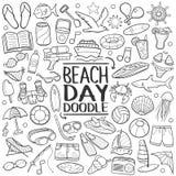 Plażowego dnia Doodle Tradycyjne ikony Kreślą Ręcznie Robiony projekta wektor royalty ilustracja