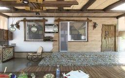 Plażowego domu alfresco żywy teren, 3d odpłaca się Obraz Stock