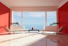 plażowego domu czerwony biel ilustracja wektor