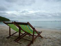 plażowego krzesła lokalizować kurortu nadmorski Fotografia Stock