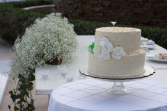 Plażowego miejsca przeznaczenia ślubny tort Zdjęcie Royalty Free