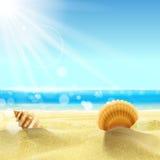 plażowej brzegowej cibory śródziemnomorska piaska kamieni lato kipiel Ilustracji