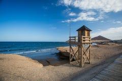 plażowej brzegowej cibory śródziemnomorska piaska kamieni lato kipiel tła kolażu wizerunków natury podróż Hiszpania, Tenerife Fotografia Stock