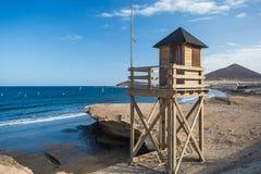 plażowej brzegowej cibory śródziemnomorska piaska kamieni lato kipiel tła kolażu wizerunków natury podróż Hiszpania, Tenerife Fotografia Royalty Free