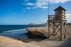plażowej brzegowej cibory śródziemnomorska piaska kamieni lato kipiel tła kolażu wizerunków natury podróż Hiszpania, Tenerife Obraz Royalty Free