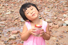 plażowej dziewczyny szczęśliwy mały Obraz Stock