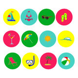 Plażowej ikony dennej podróży ustalony czas wolny Zdjęcie Stock