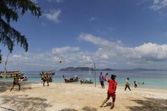 Plażowej salwy Balowa rywalizacja na plaży Fotografia Stock