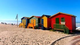 Plażowi domy przy Muizenberg zdjęcia royalty free