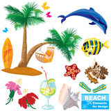 plażowi elementy ustawiają lato royalty ilustracja
