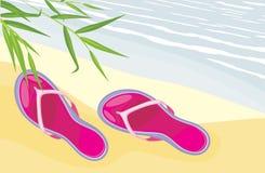 Plażowi kapcie kłama na piasku royalty ilustracja