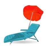 Plażowi krzesła i parasol Zdjęcie Stock
