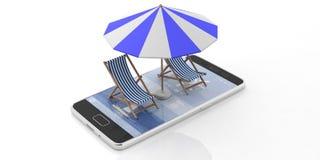 Plażowi krzesła i parasol na smartphone odizolowywającym na białym tle ilustracja 3 d ilustracji