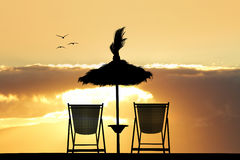 Plażowi krzesła i parasol przy zmierzchem royalty ilustracja