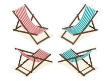 Plażowi krzesła odizolowywający na białym tle Drewniana plażowa bryczki longue mieszkania 3d isometric wektorowa ilustracja royalty ilustracja