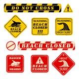 Plażowi niebezpieczeństwo znaki Zdjęcie Royalty Free