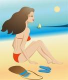 plażowi piękni czerwoni swimsuit kobiety potomstwa Zdjęcie Stock