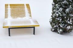 Plażowy śnieg zakrywający ławka opad śniegu obraz royalty free