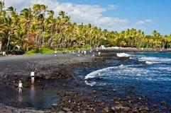 plażowy czarny piasek Fotografia Stock