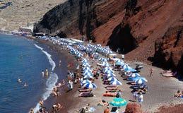 plażowy czerwony santorini Zdjęcia Royalty Free