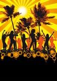 plażowy dancingowy dyskoteki ulotki dziewczyn palm przyjęcie Zdjęcie Royalty Free