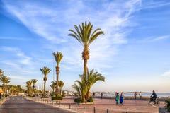 Plażowy deptak afrykański schronienia miasto Agadir Obrazy Royalty Free