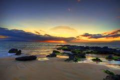 plażowy dramatyczny zmierzch Zdjęcie Stock