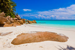 Plażowy Georgette przy wyspą Praslin, Seychelles - obrazy stock