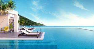 Plażowy hol, słońc loungers na Sunbathing pokładzie i intymny pływacki basen z panoramicznym dennym widokiem przy luksusowym vill ilustracji
