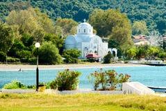 plażowy i biały kościół fotografia stock